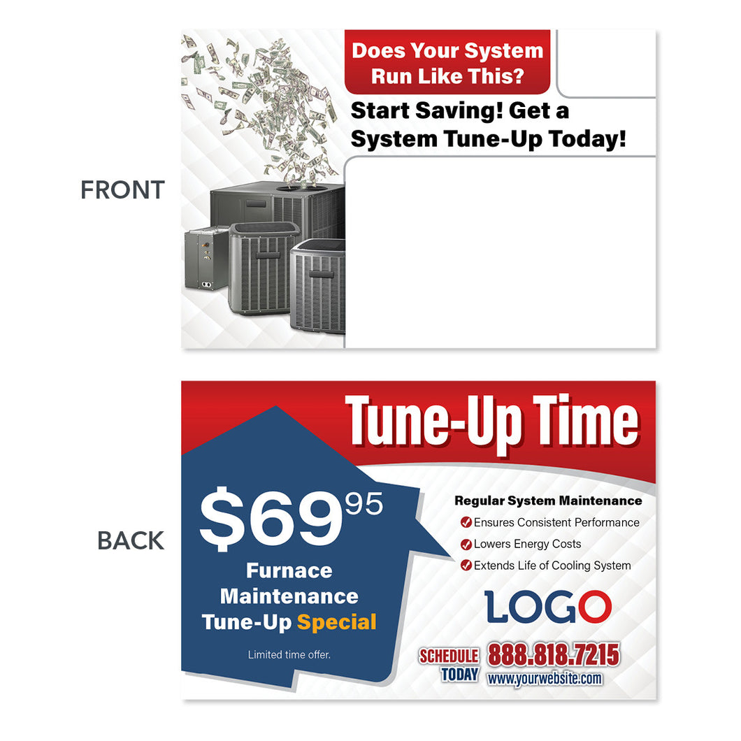 system replacement postcard for hvac company