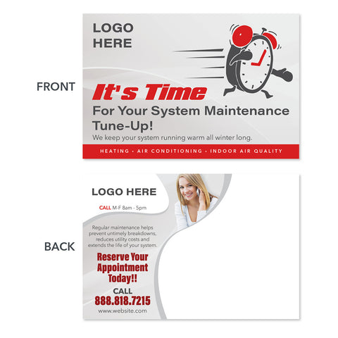 system maintenance postcard design with clock
