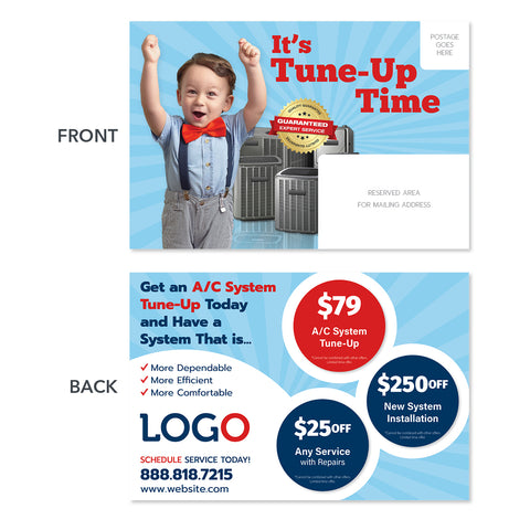 hvac maintenance postcard with kid