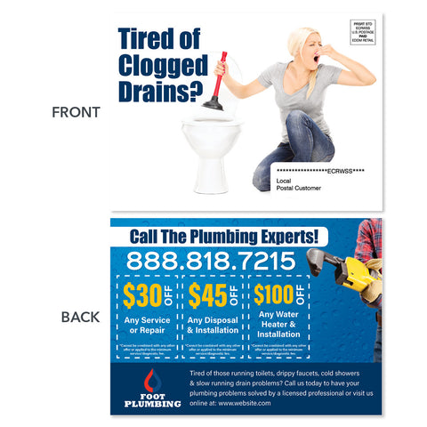 drain cleaning eddm postcard with woman plunger