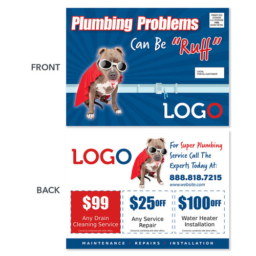 plumbing repair eddm postcard with super dog