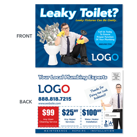 toilet leak postcard design plumbers