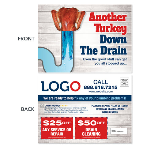 Thanksgiving plumbers eddm postcard for drain cleaning