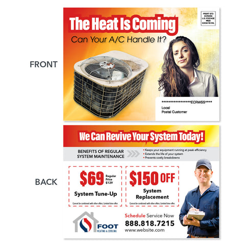 system replacement eddm postcard for hvac company