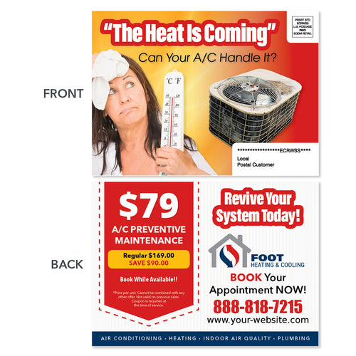 maintenance thermometer eddm postcard for hvac company