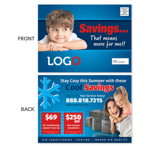 hvac air conditioning postcard with baby