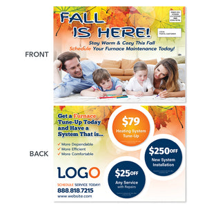 fall season eddm hvac heating postcard