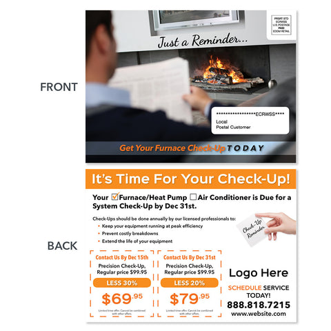eddm hvac furnace postcard by fireplace
