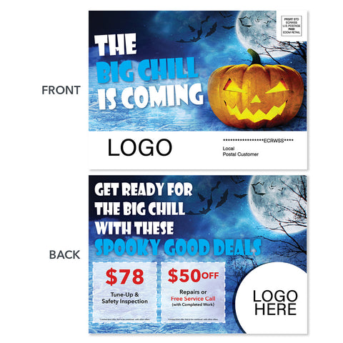 halloween eddm hvac heating postcard with pumpkin