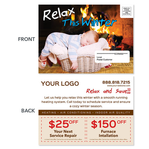 eddm hvac heating postcard fireplace