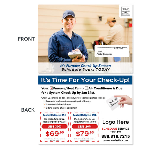 eddm hvac heating postcard with frozen tech