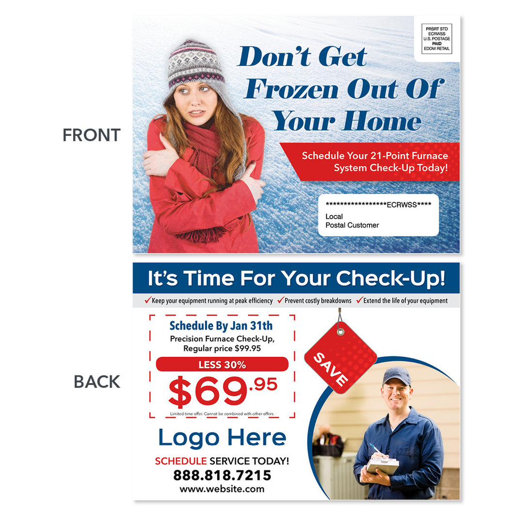 eddm hvac heating postcard with frozen woman