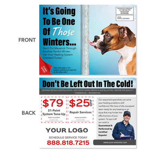 eddm hvac furnace postcard with dog