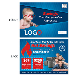 hvac eddm postcard mailer with baby