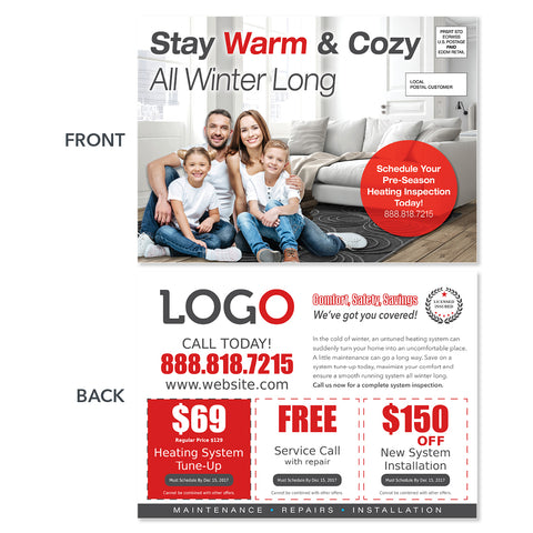 hvac eddm heating postcard with family