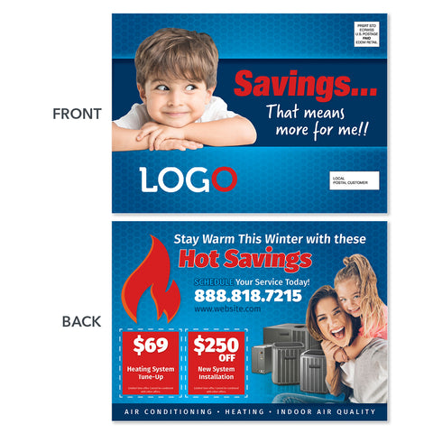 hvac heating postcard with baby