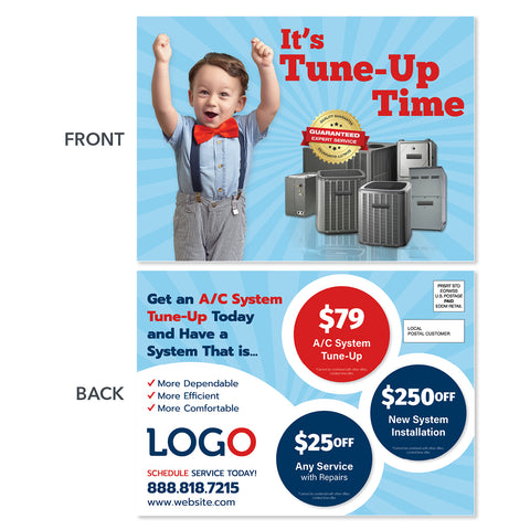 hvac maintenance eddm postcard with kid
