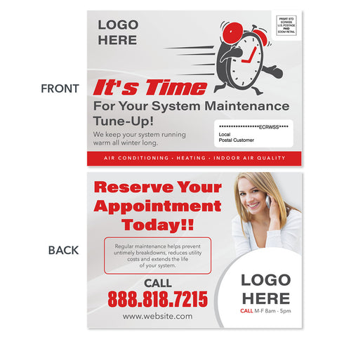eddm hvac heating postcard with clock