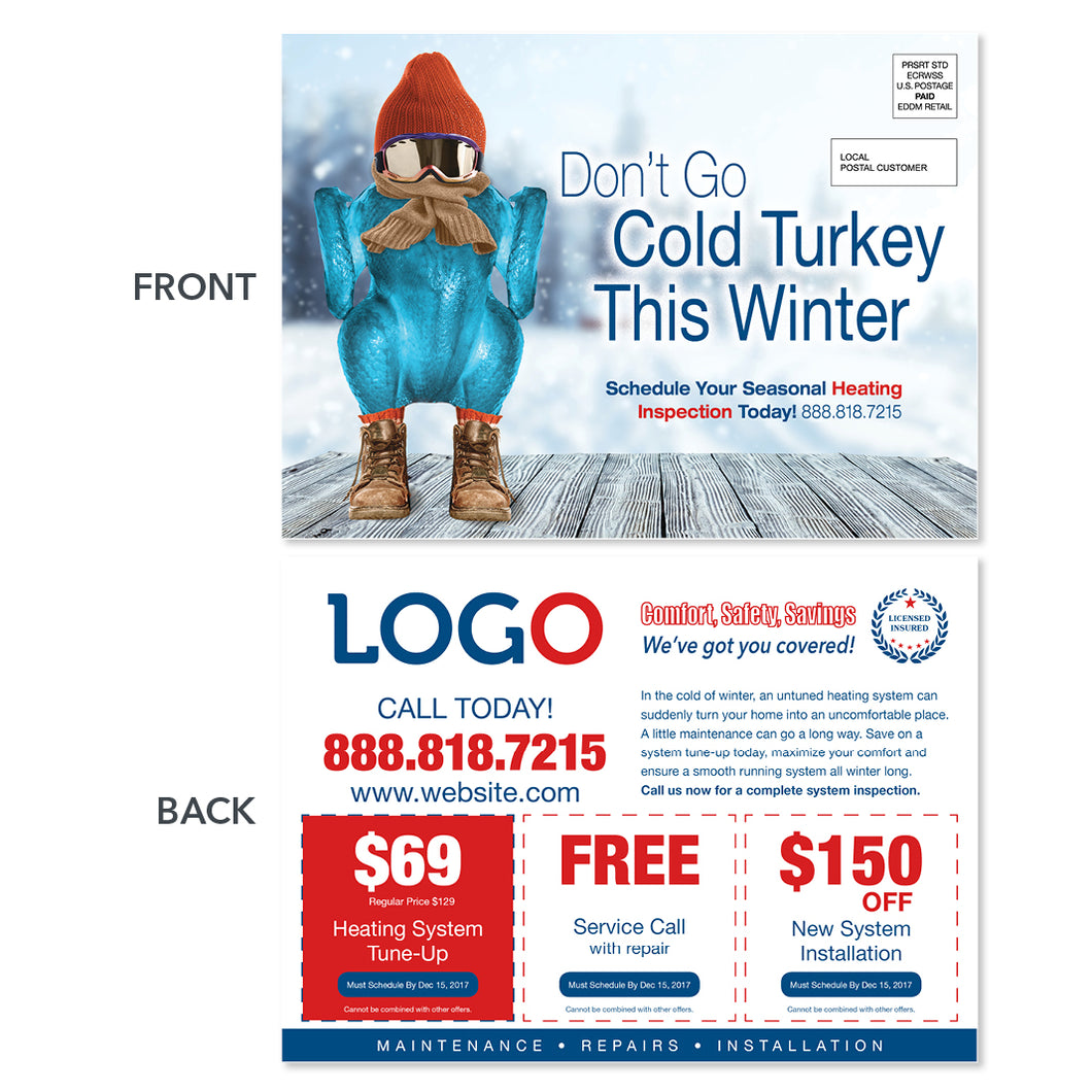 thanksgiving hvac postcard with cold turkey