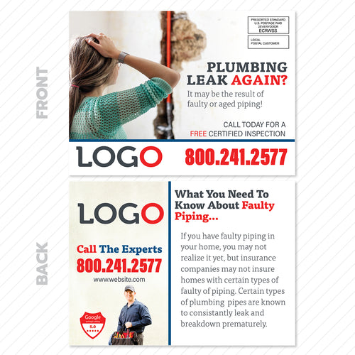Faulty Plumbing Pipes EDDM Postcard
