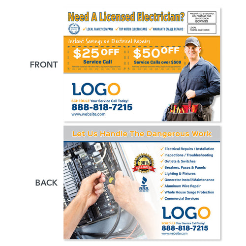 electricians eddm postcard with panel and tool bag