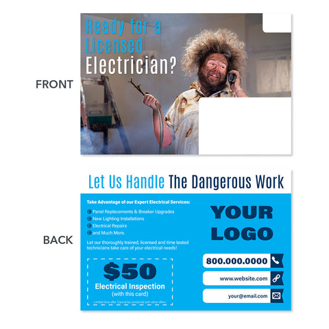 electrician repair postcard man smoke wire fire