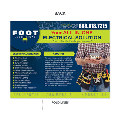 Electrician Trifold Brochure High Quality Design Print