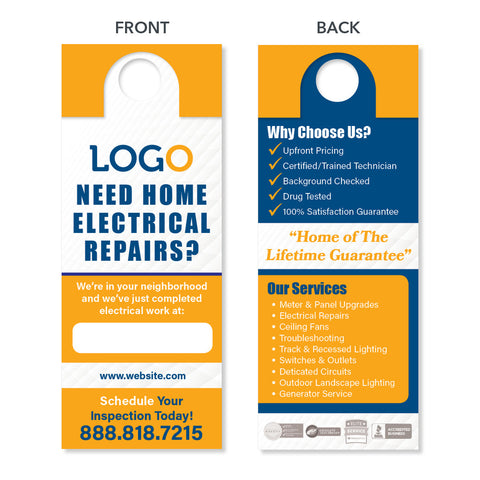 door hanger for electrician door hanger