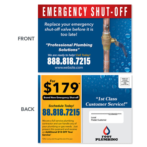 emergency shutoff value plumbing eddm postcard