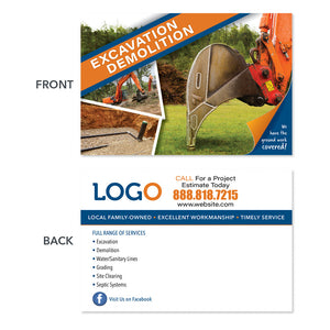 excavation demolition contractor postcard