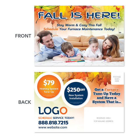 fall season heating hvac postcard