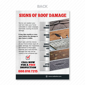 signs of roof damage flyer