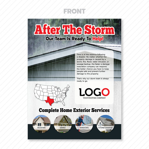 storm damage roofing flyer