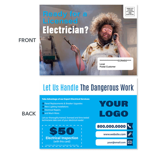 funny electrical eddm postcard hair on fire