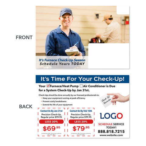 furnace maintenance tech hvac postcard