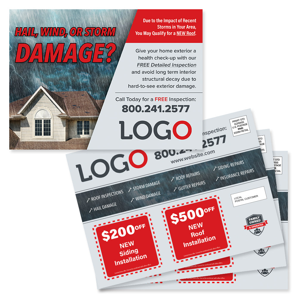 hail damage eddm postcard design