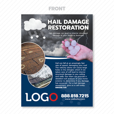 hail damage restoration flyer print design