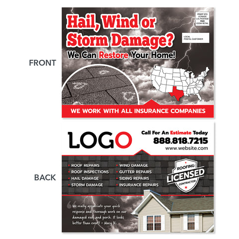 hail wind damage eddm postcard design