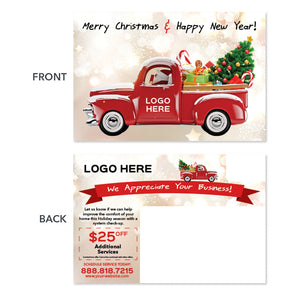 truck christmas tree contractor postcard