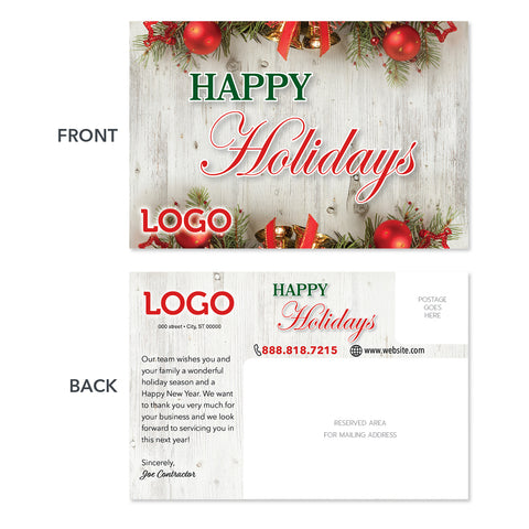 holiday contractor postcard design