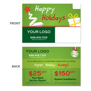 hvac contractor holiday postcard