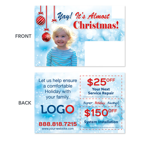 hvac christmas holiday postcard with kid