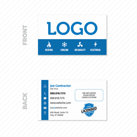 business card design for hvac contractor