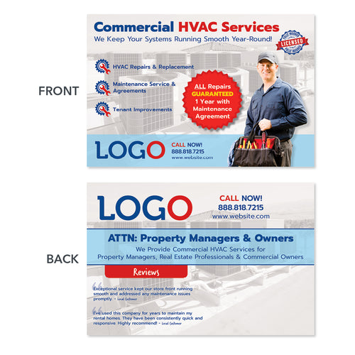 commercial hvac maintenance postcard design