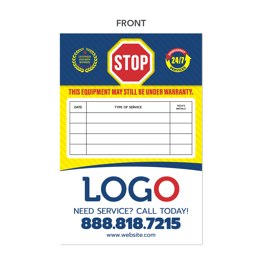hvac maintenance sticker