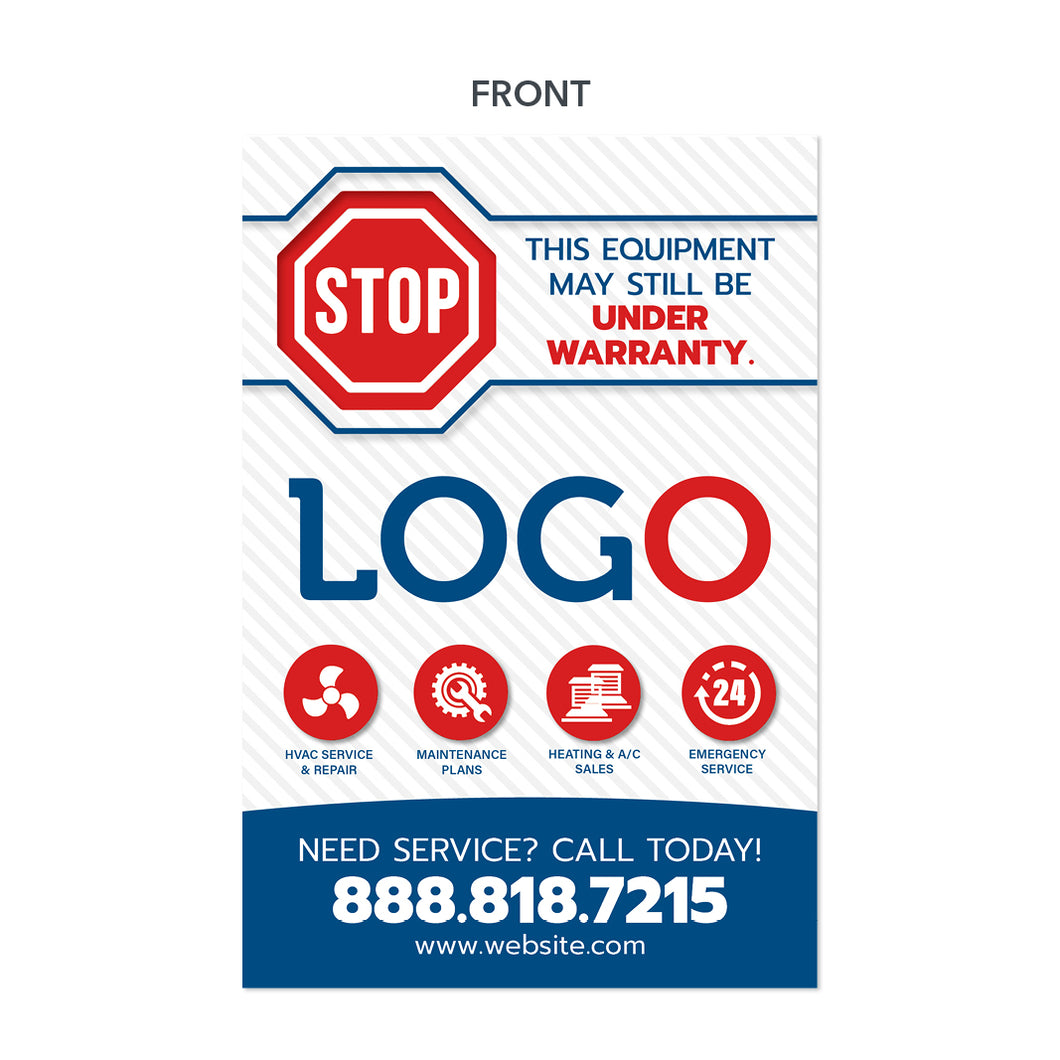 hvac equipment sticker with stop sign