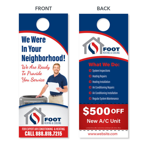 custom design print hvac neighborhood door hanger