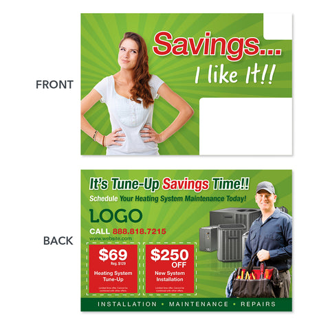 hvac heating maintenance postcard card