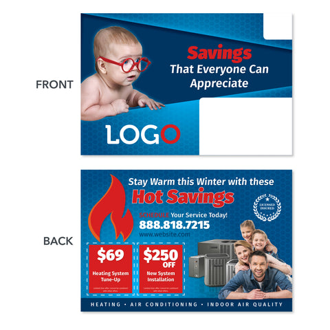 hvac direct mail postcard with baby