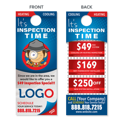 custom design print hvac inspection door hanger